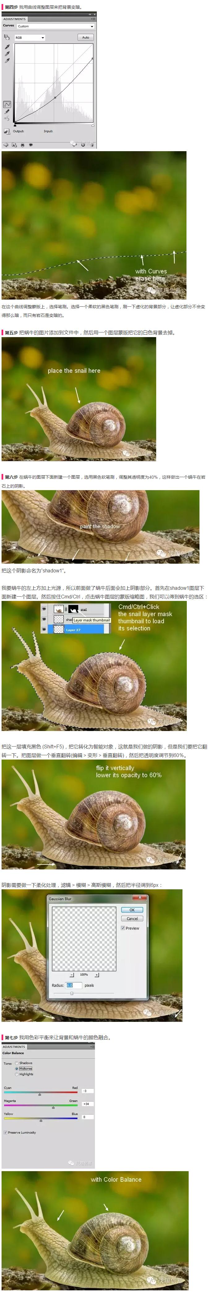 PS合成教你创建骑蜗牛的梦幻女孩场景图2