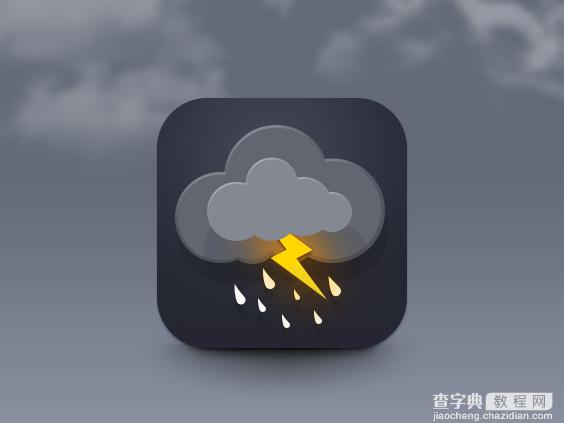 Photoshop教程:制作精致的闪电天气预报图标1